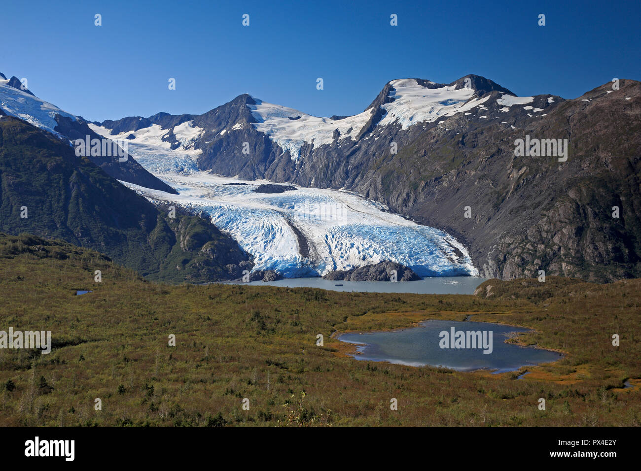 View of the Portage Glacier Alaska - Stock Image