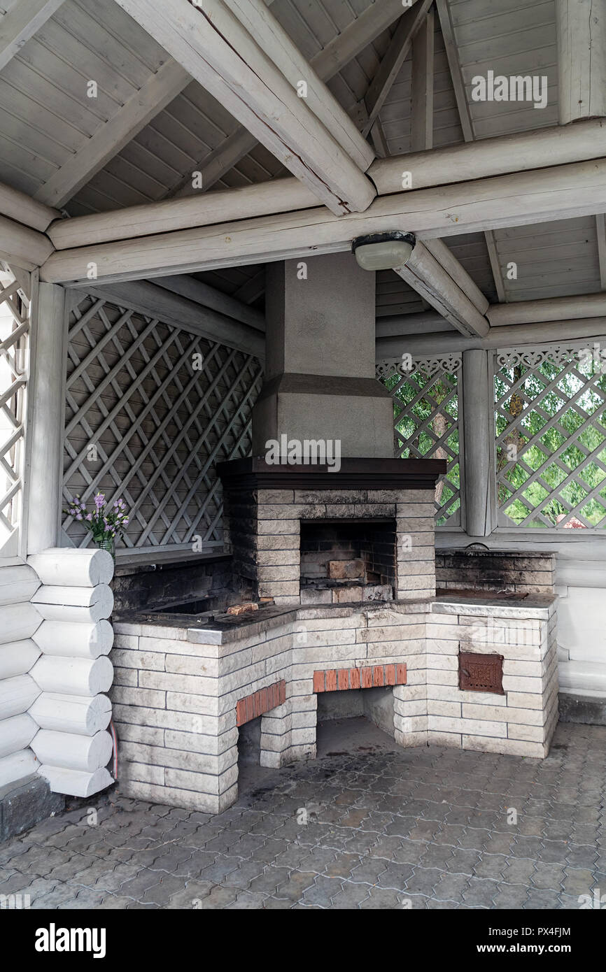 Brick oven in a summer kitchen - Stock Image