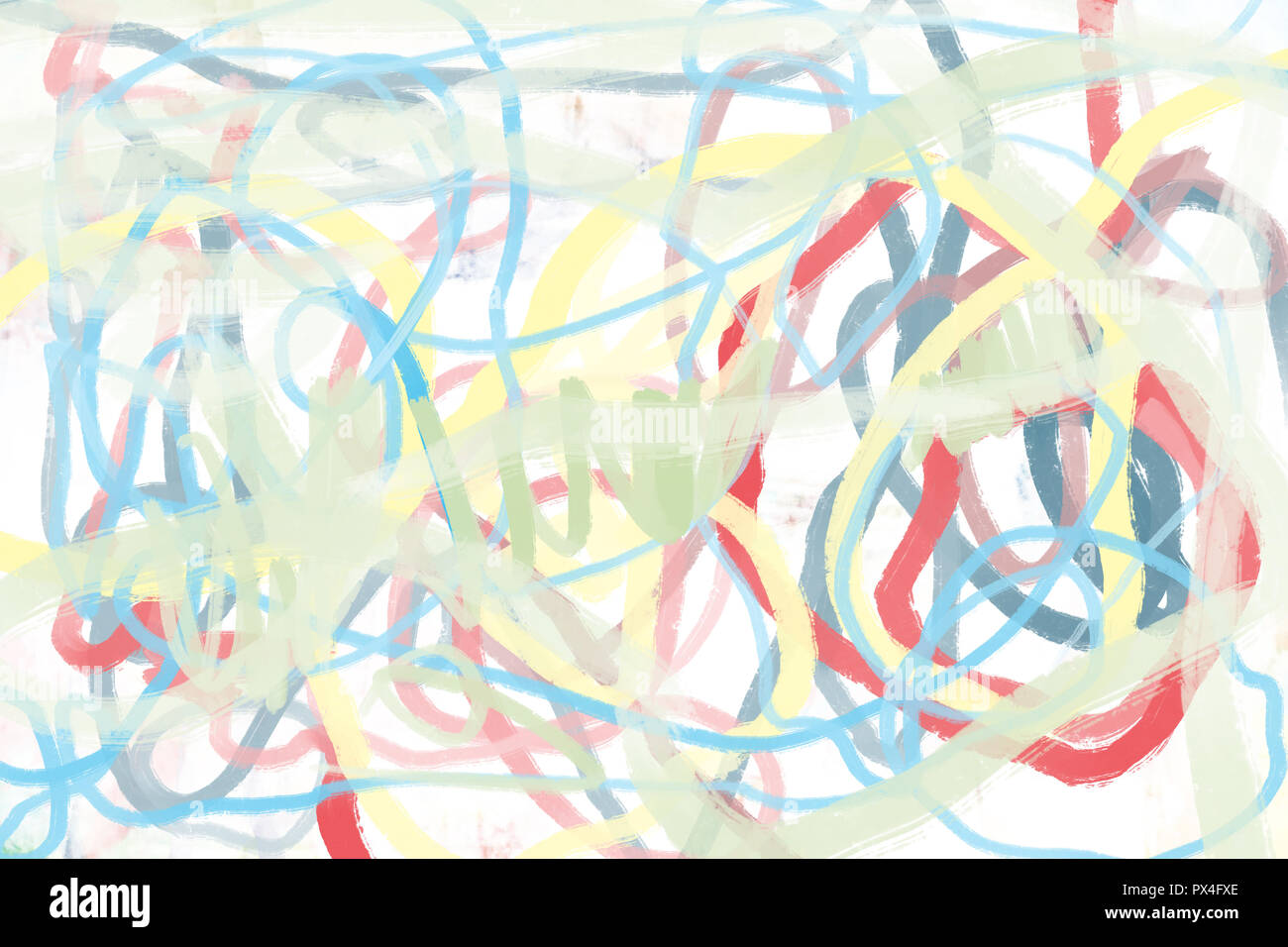 Abstract Wet Oil Painting Multicolored On Gesso Canvas Background