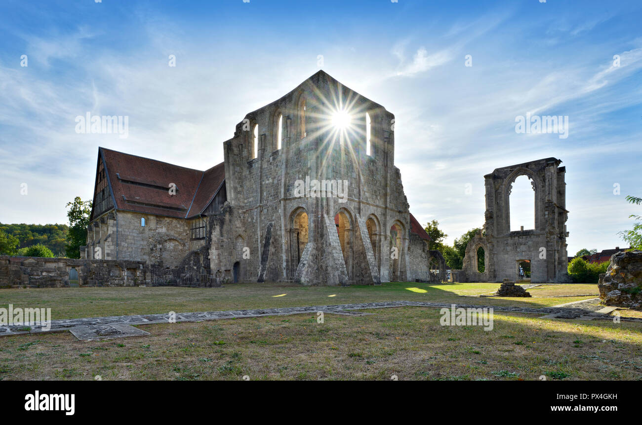 Walkenried monastery ruin, sun shines through the Gothic monastery church, former Cistercian abbey, Walkenried, Lower Saxony - Stock Image