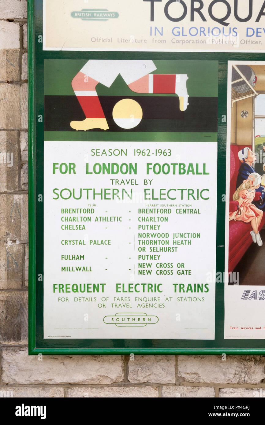Vintage British Railways rail advertising poster, Swanage railway