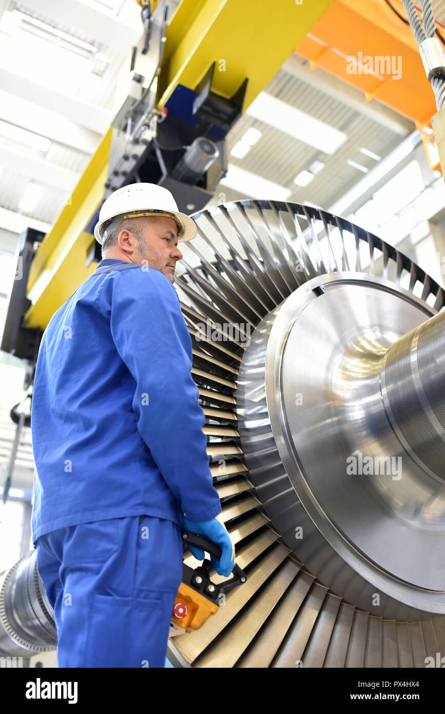 production and design of gas turbines in a modern industrial factory - Stock Image