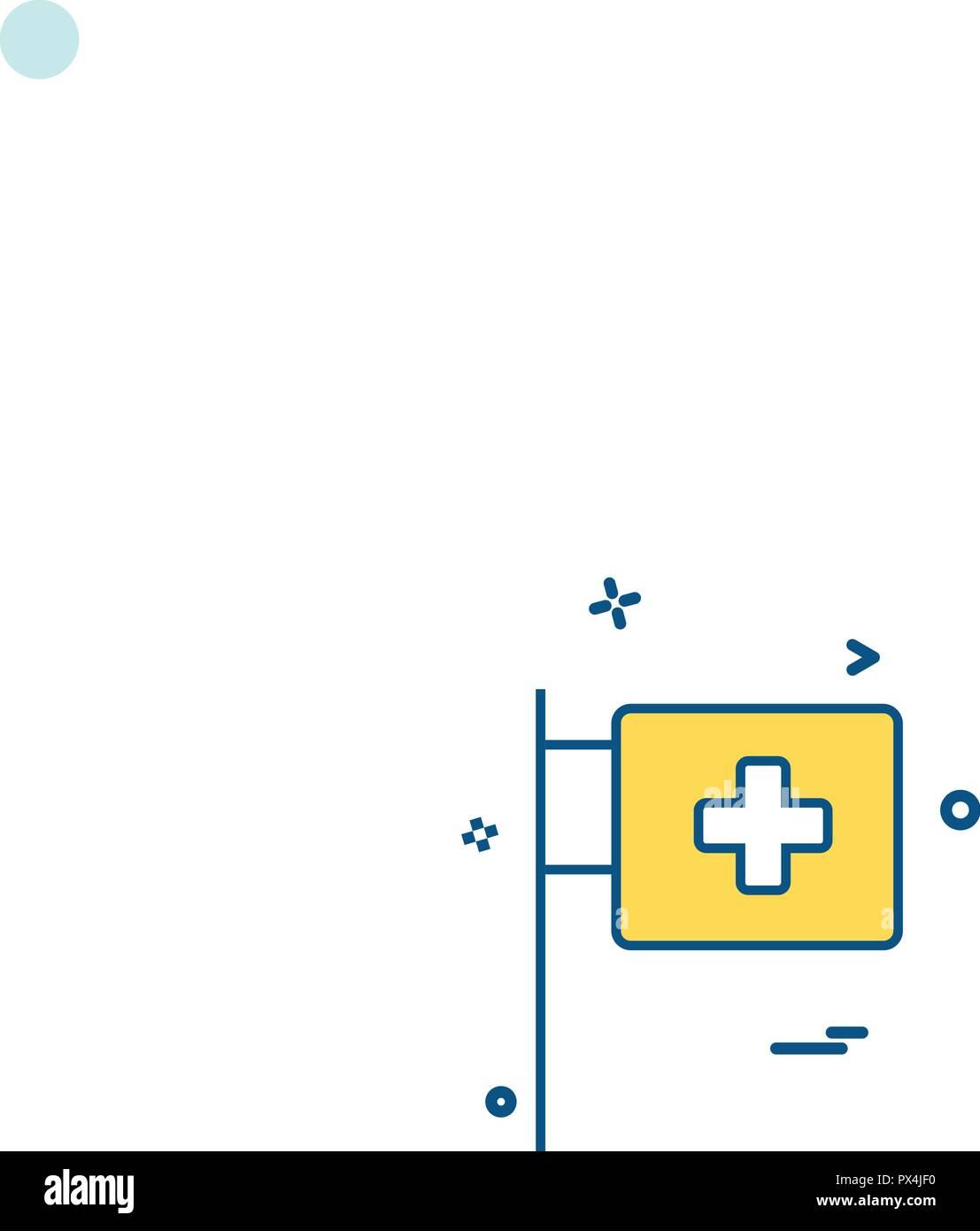 medical hospital flagpole icon vector desige - Stock Vector