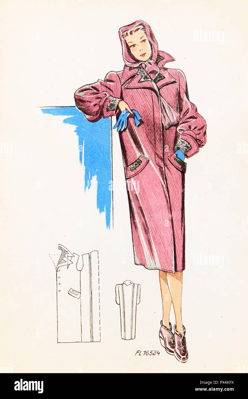 Fashionable overcoat for women, 1930s - Stock Image