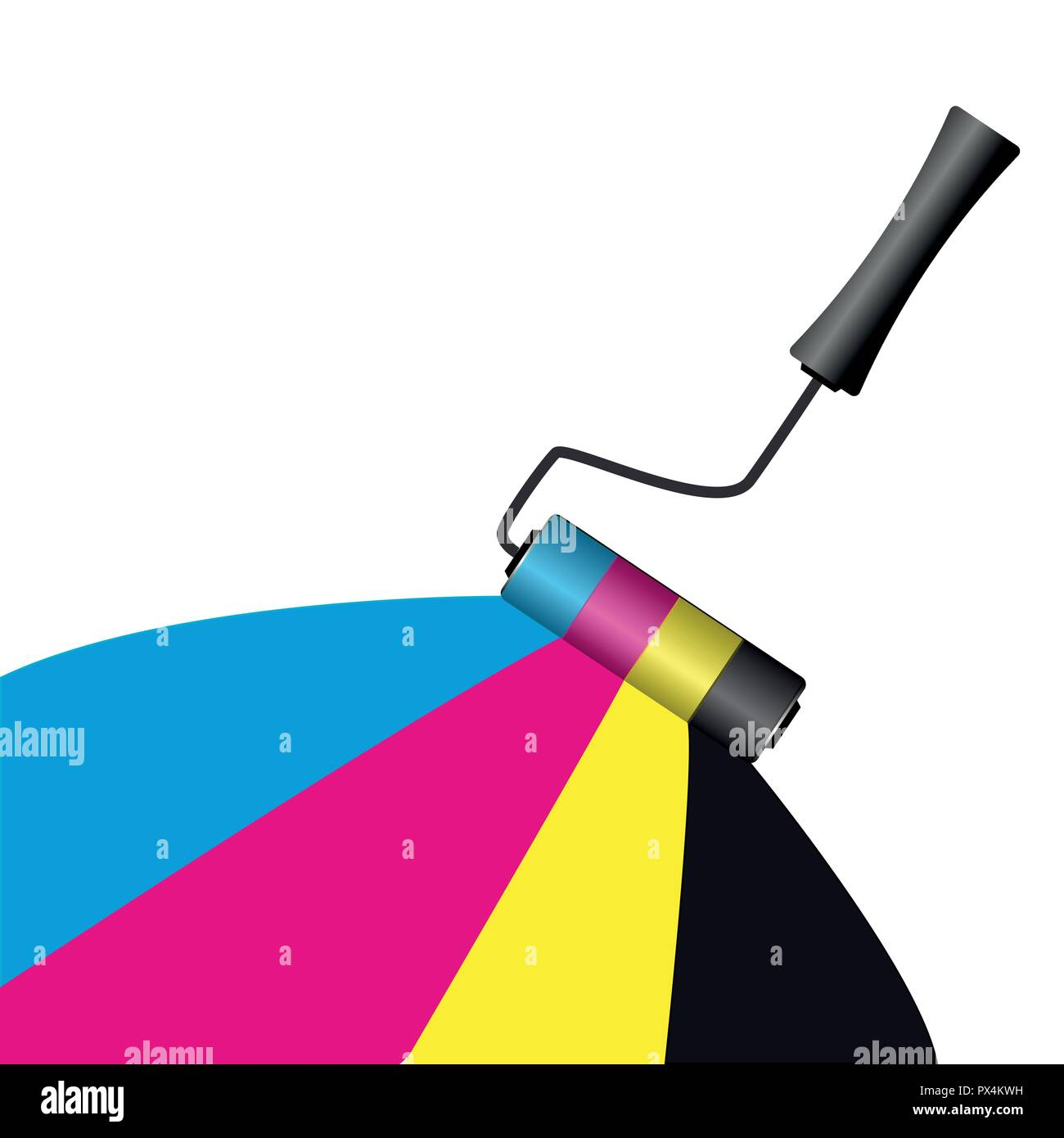 cmyk painting with roller on white background vector illustration EPS10 - Stock Image