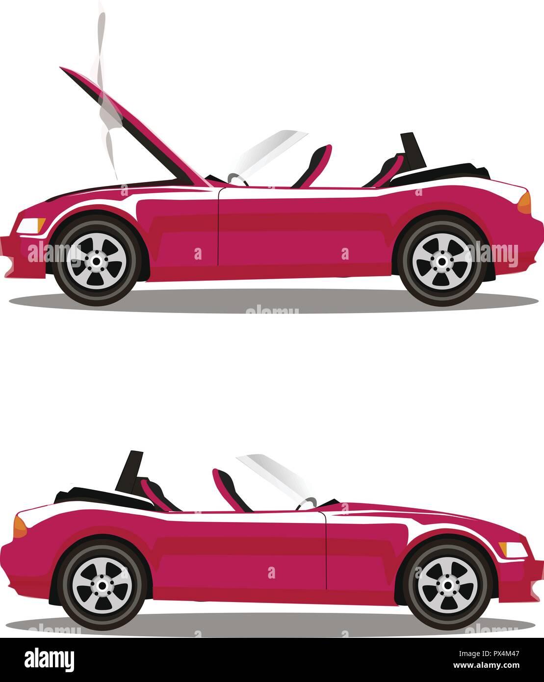 Vector Set Of Broken Pink Luxury Cabriolet Sport Cartoon Car With
