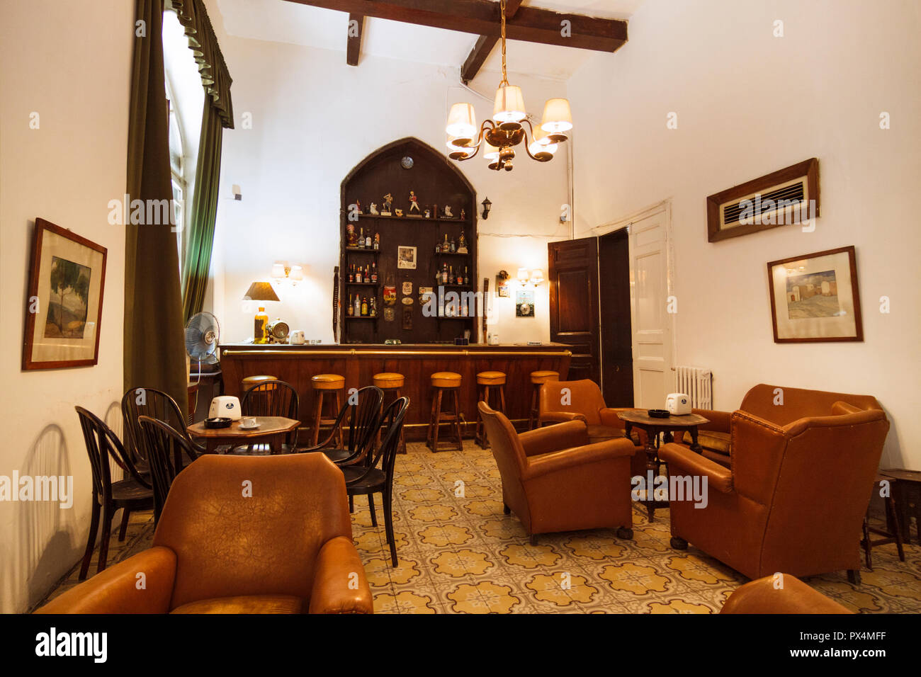 Aleppo, Aleppo Governorate, Syria : Bar of the Baron Hotel. Built betwen 1909 and 1911, the Baron is the oldest operating hotel in Syria. - Stock Image