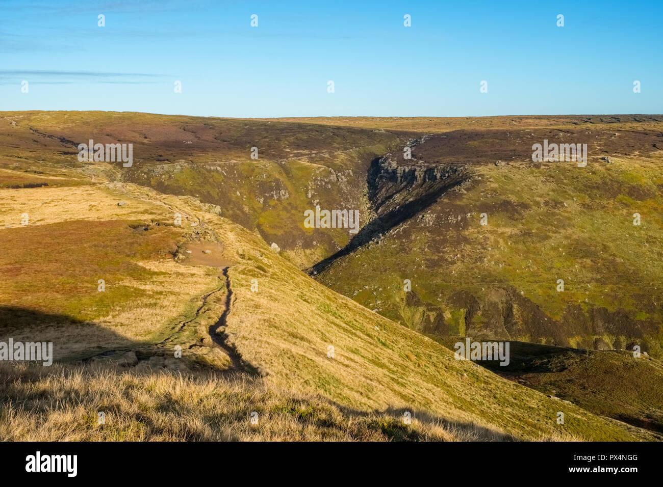 Kinder Scout at the top of Grindsbrook Clough, Peak District National Park, Derbyshire,UK - Stock Image