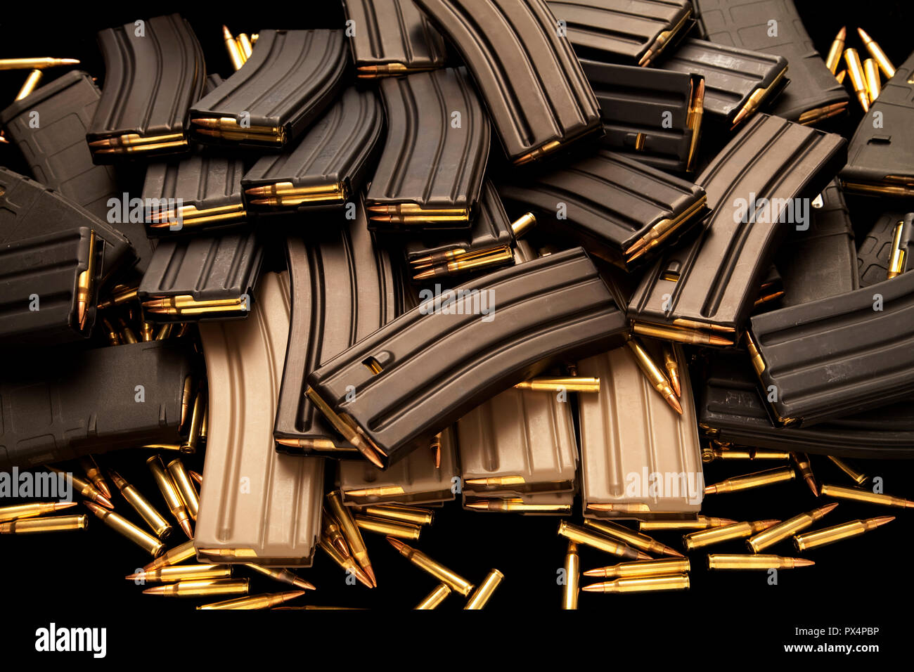 High capacity AR-15 ammunition magazines. - Stock Image