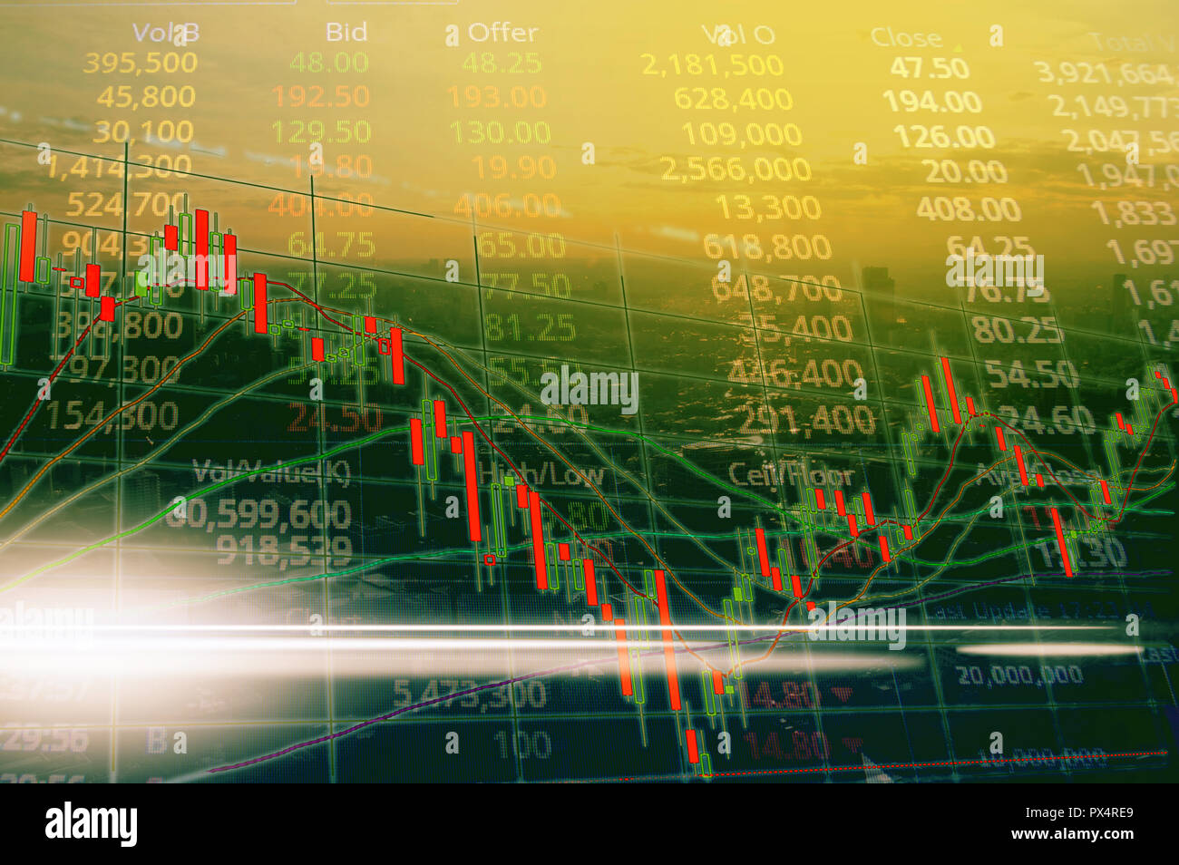 Stock market or trading graph and candlestick chart. Abstract finance background. Financial investment concept. Stock Photo