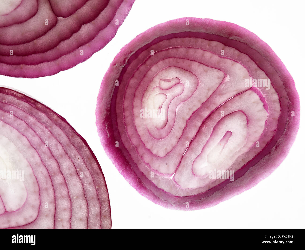 Red onion close-up abstract food photograph - Stock Image