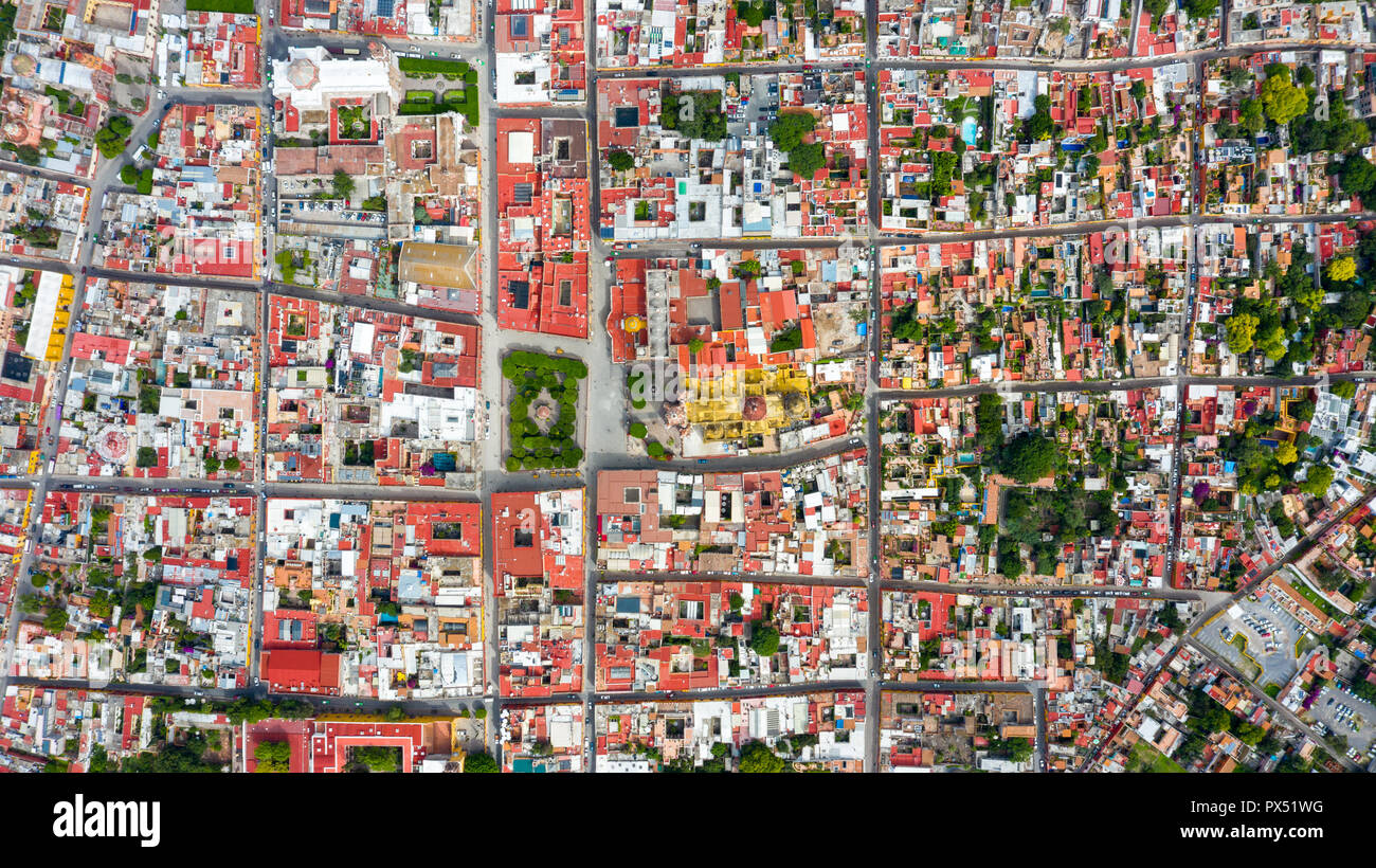 Aerial view of the Zocalo, Historic City Center of San Miguel de Allende, Mexico - Stock Image