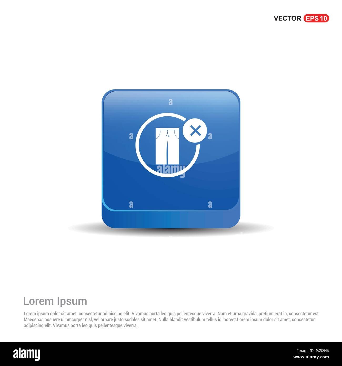 Allow Button no trousers allow icon - 3d blue button stock vector art