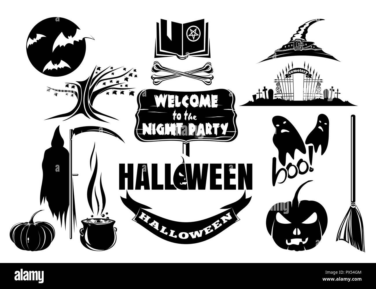 Vector black and white Halloween icon set - Stock Image