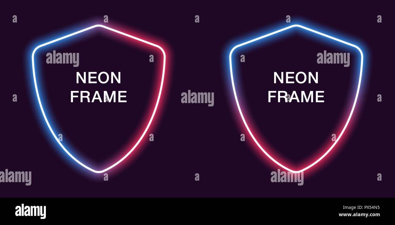 Neon Frame In Shield Shape Vector Template Of Border Blue And Red Color