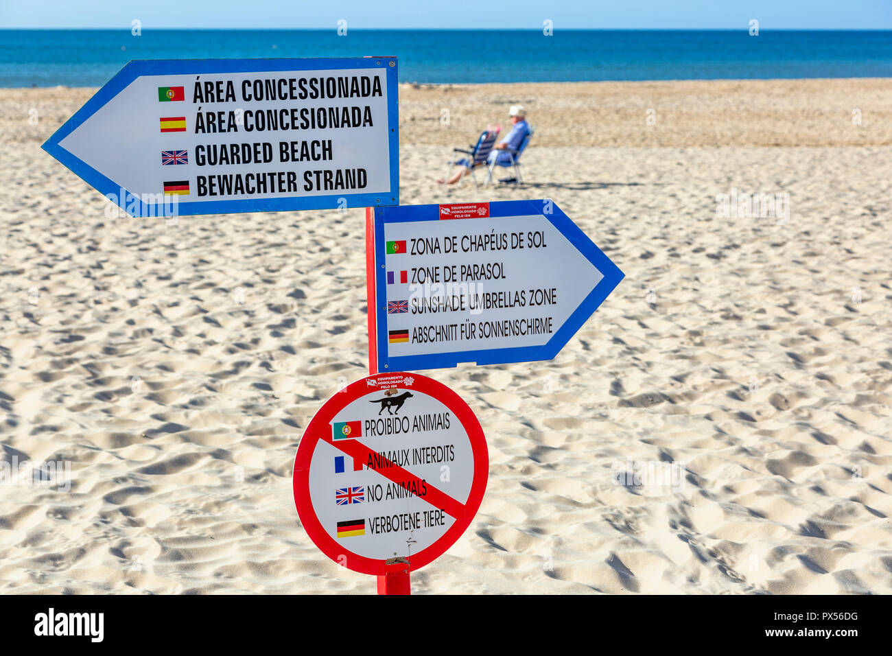 Information and warning sign on the beach at Monte Gordo, Algarve, Portugal - Stock Image