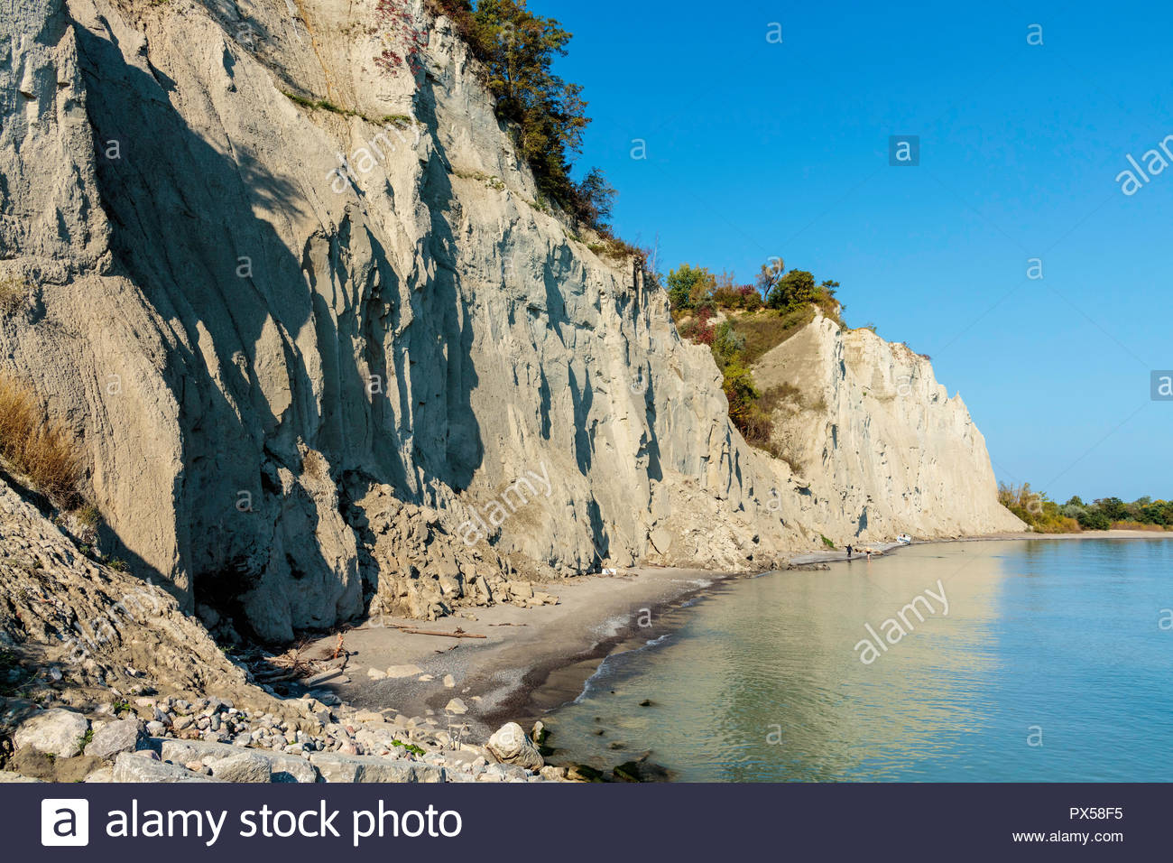 Scarborough Bluffs an alluvial deposit on the edge of Lake Ontario at Bluffer's Park in Toronto Ontario Canada - Stock Image