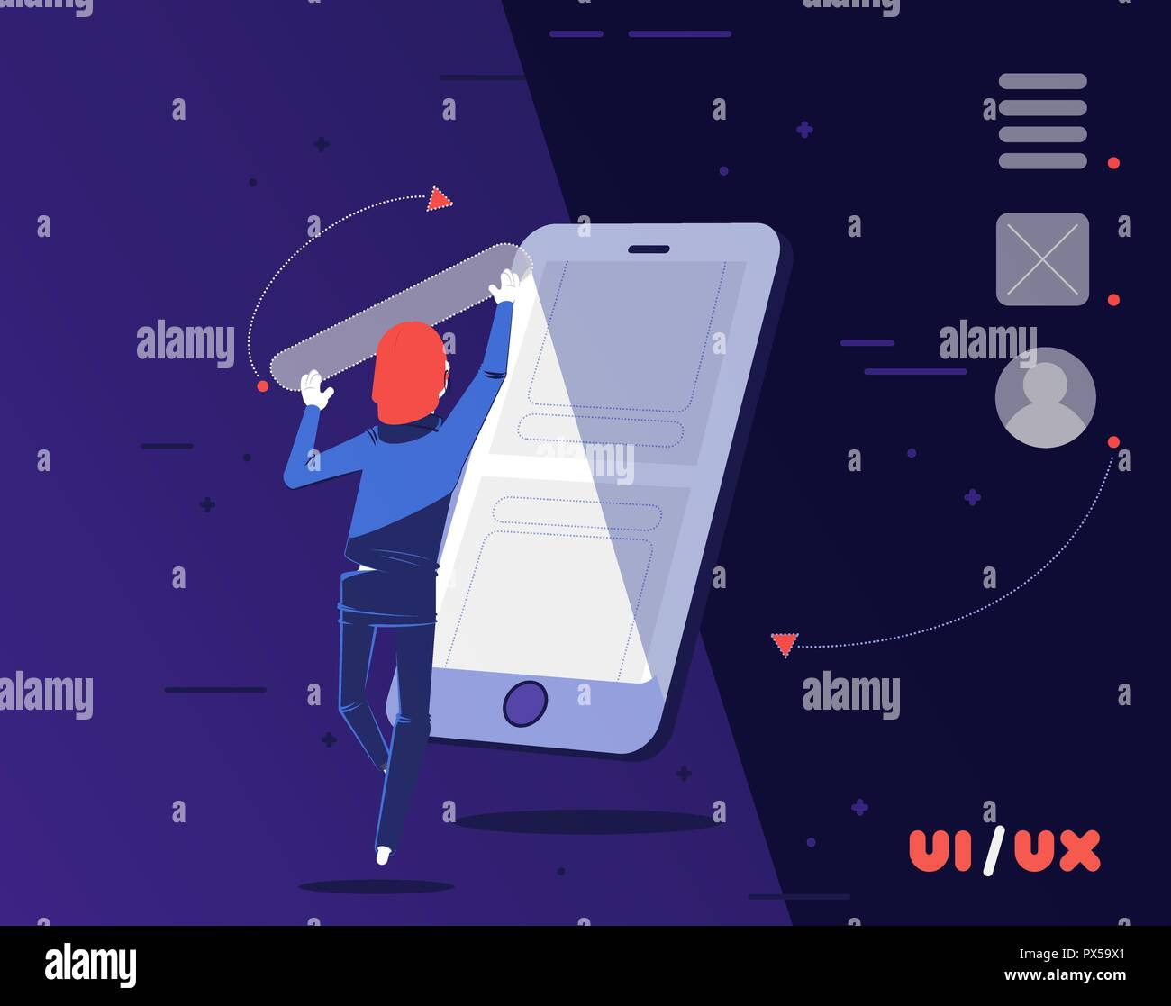 UI/UX designer building a new App for smartphone. In a digital world the user experience / interface designer is the architect of our new world. - Stock Image