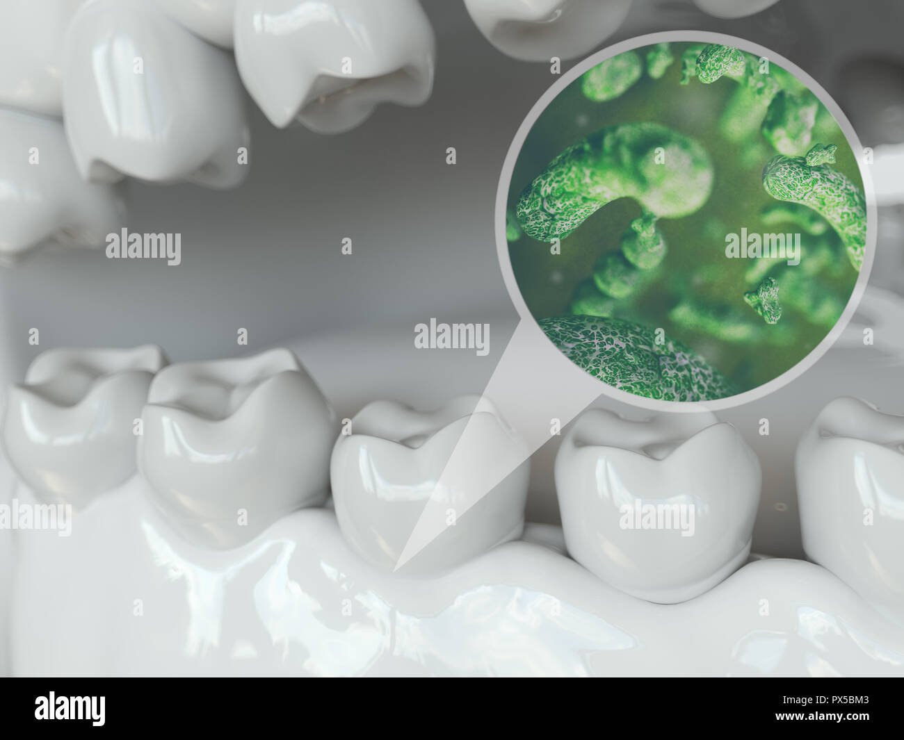 Bacteria and viruses around tooth 2 of 2 -- 3D Rendering Stock Photo