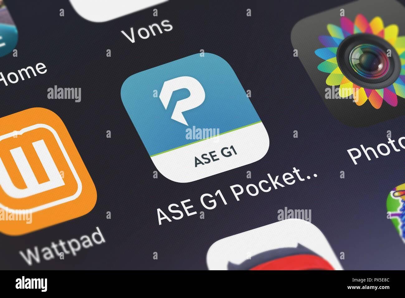 London, United Kingdom - October 19, 2018: Screenshot of the mobile app ASE G1 Pocket Prep from Pocket Prep, Inc.. - Stock Image