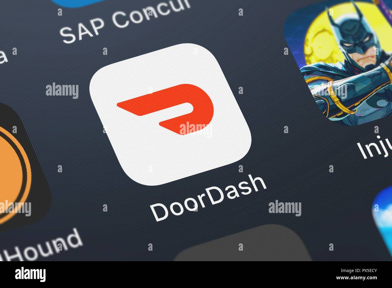 London, United Kingdom - October 19, 2018: Close-up of the DoorDash - Order Food Delivery icon from DoorDash, Inc. on an iPhone. Stock Photo