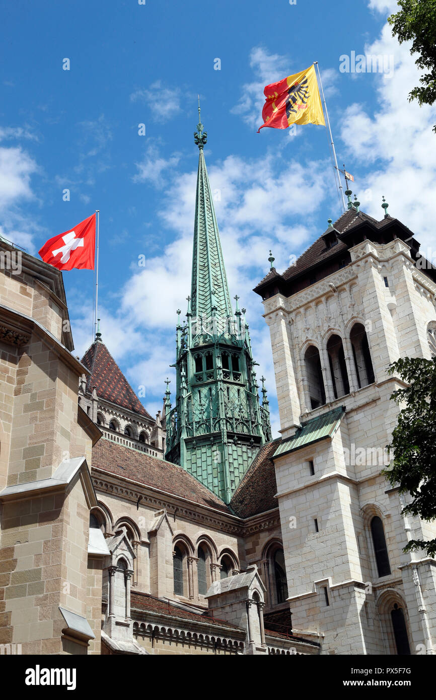 Rear of St Pierre Cathedral in the Old Town.  Geneva. Switzerland. - Stock Image
