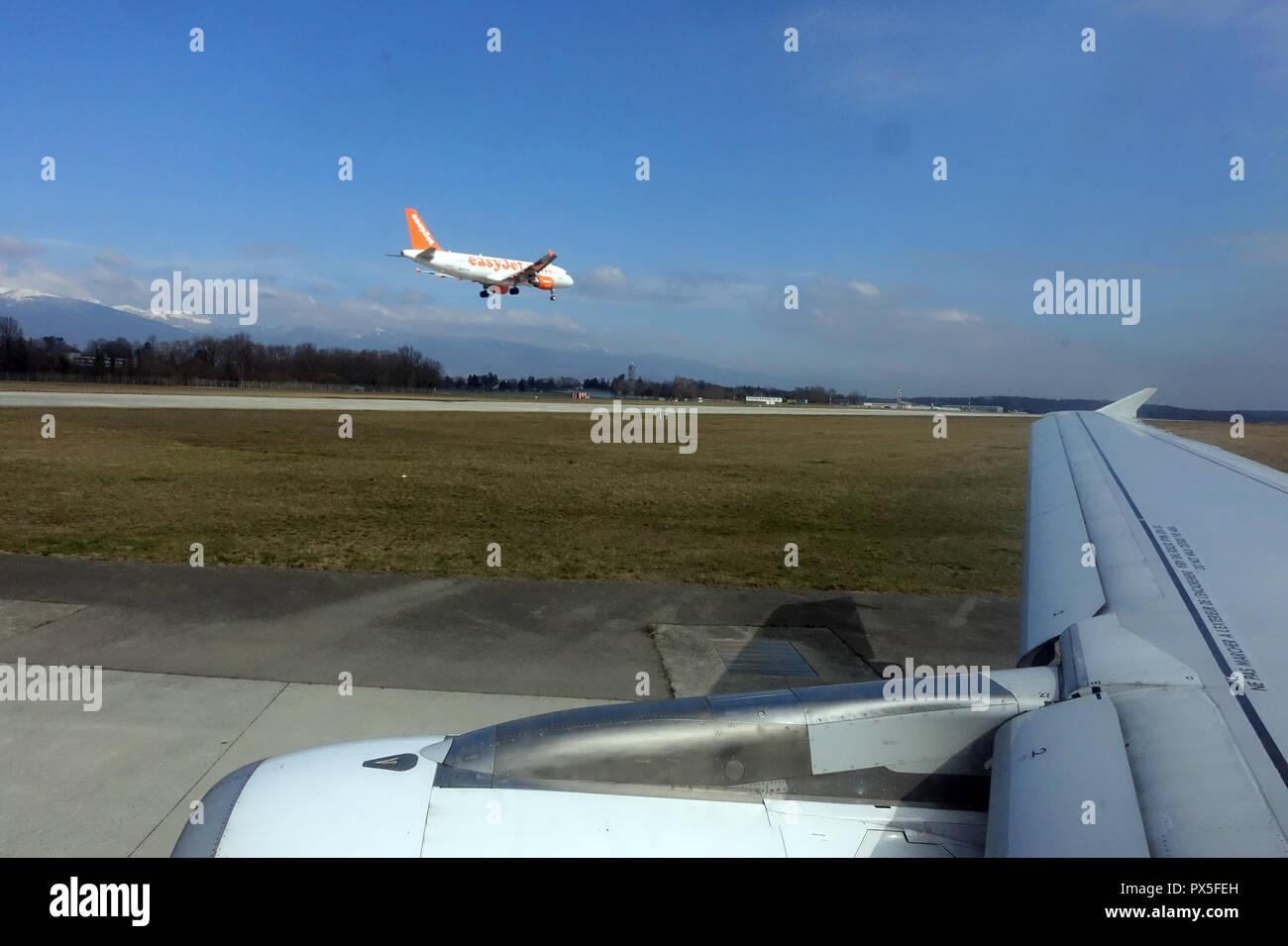 Geneva Airport.  Plane landing.  Geneva. Switzerland. - Stock Image