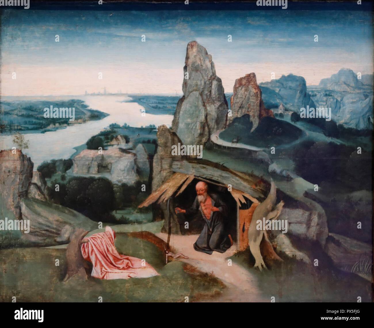 Museum of Art and History. Saint Jerome dans un paysage. (Saint Jerome in the Wilderness). 1530. Joachim Patinir.  Geneva. Switzerland. Stock Photo