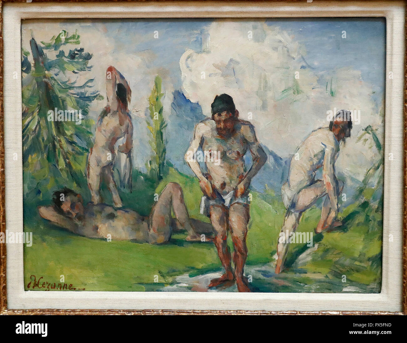 Museum of Art and History. Baigneurs au repos. 1876-1878. Oil on canvas. Paul Cezanne.  Geneva. Switzerland. - Stock Image