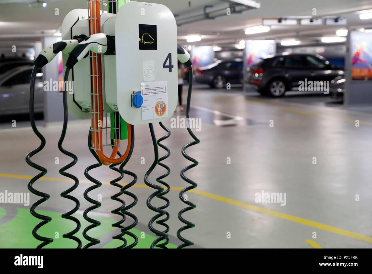 Electric vehicle charging station.  Geneva. Switzerland. - Stock Image