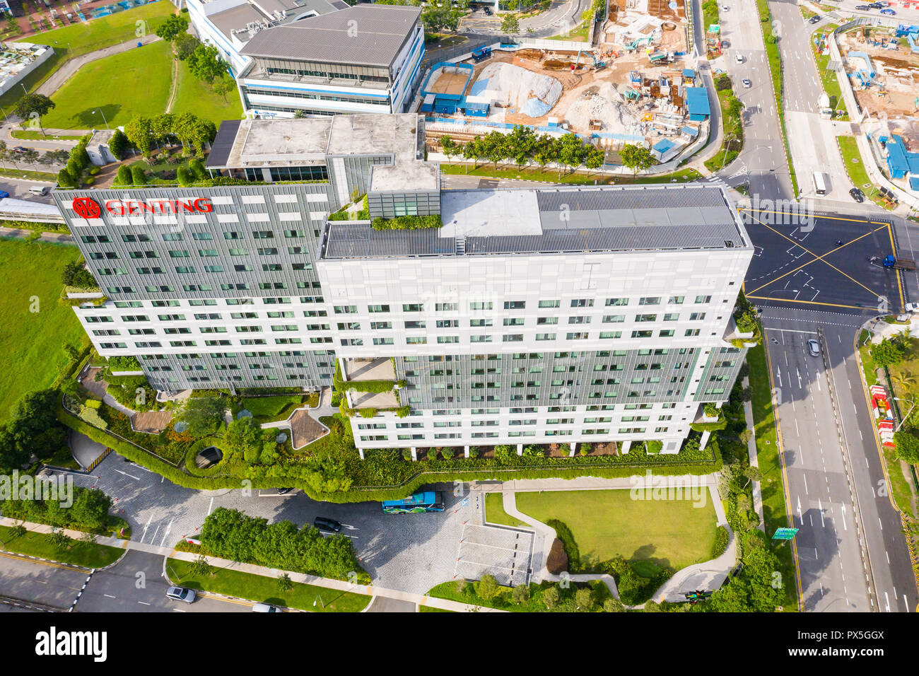 Aerial architecture view of Genting Hotel Jurong in western part of Singapore. - Stock Image