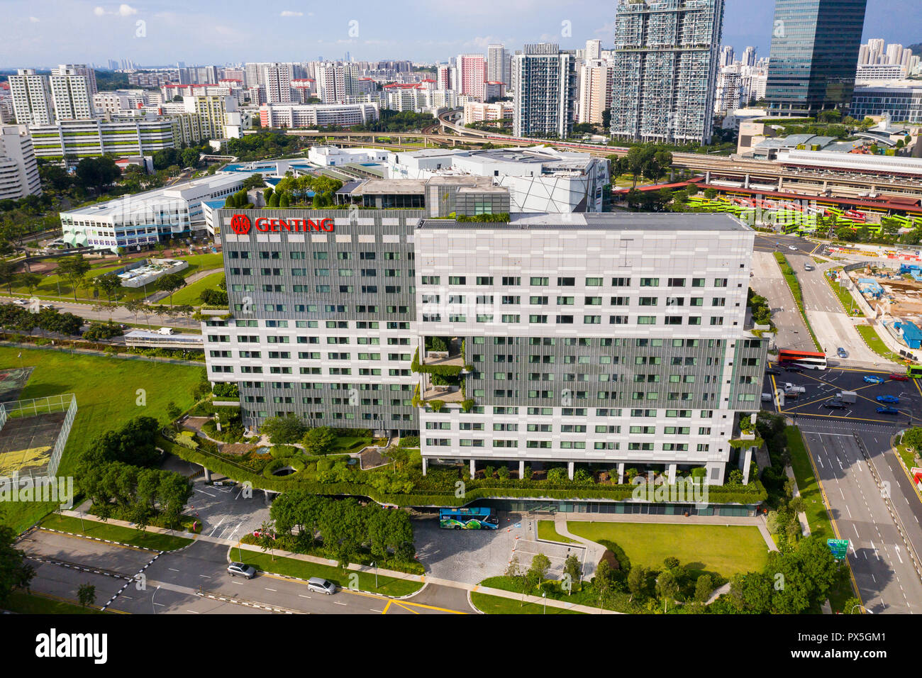 Aerial architecture view of Genting Hotel Jurong in western part of Singapore. Easily access to industrial park nearby for businessman. - Stock Image