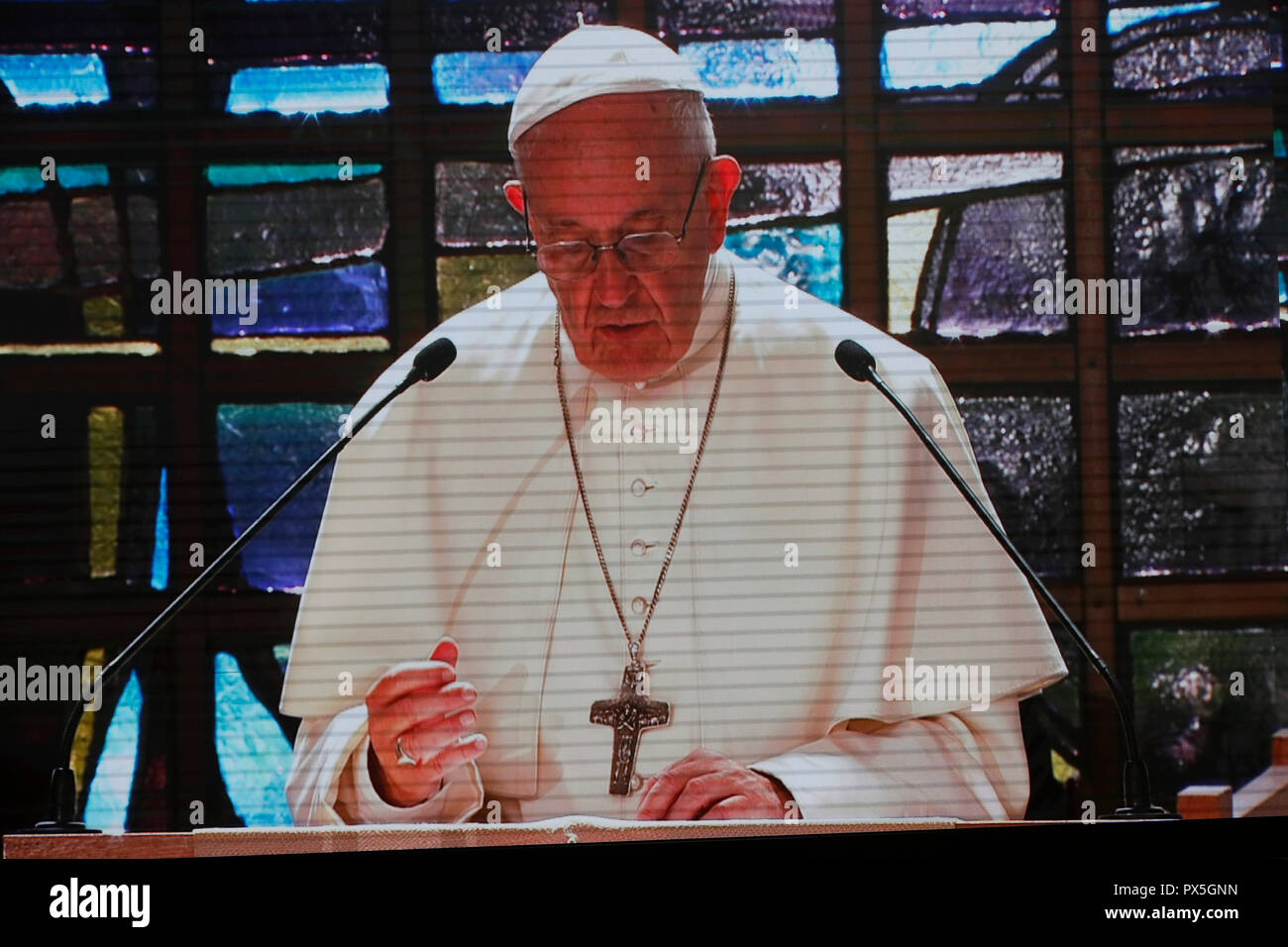On 21 June 2018, the World Council of Churches receives a visit from Pope Francis of the Roman Catholic Church. Ecumenical prayer service view from th Stock Photo