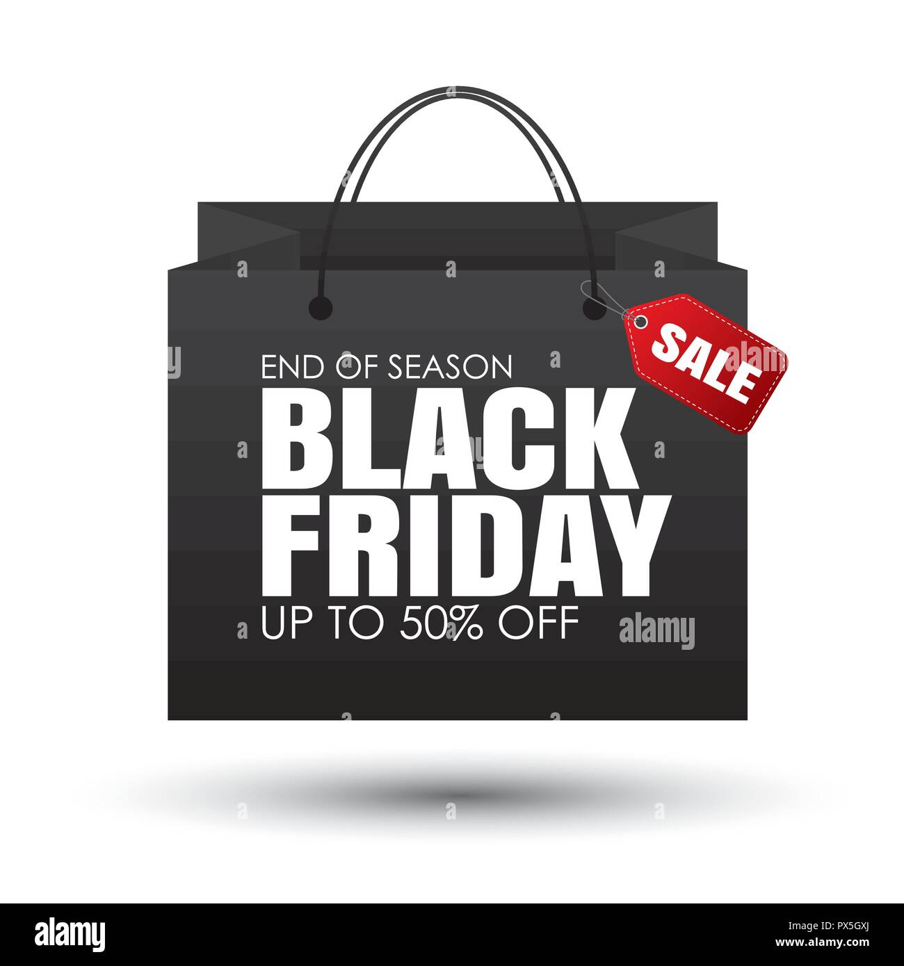 black friday shopping bag and sales tag on white background use for