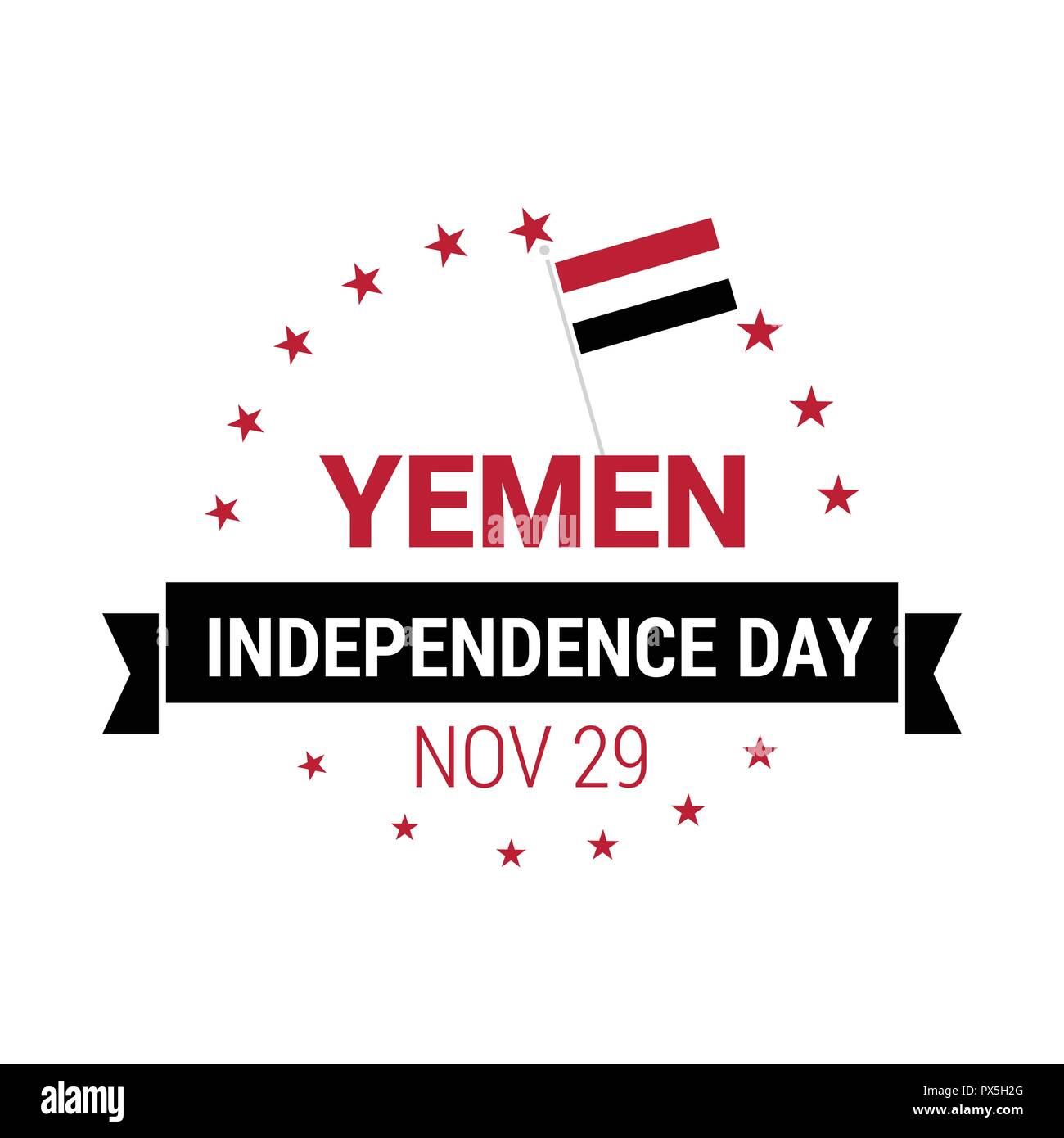 Yemen Independence day design card vector - Stock Image