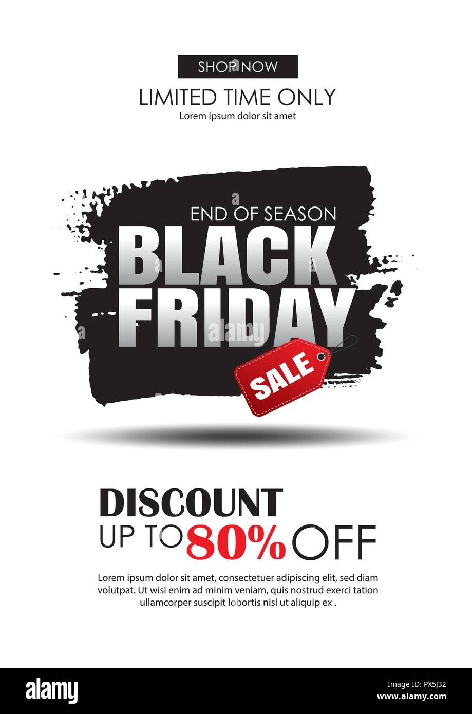 black friday sale flyer template white background with text on