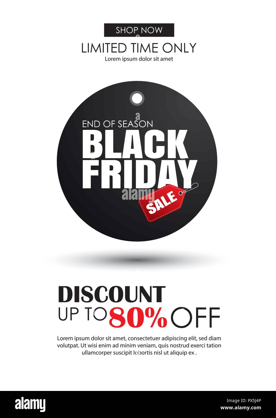 black friday sale flyer template white background with black tag