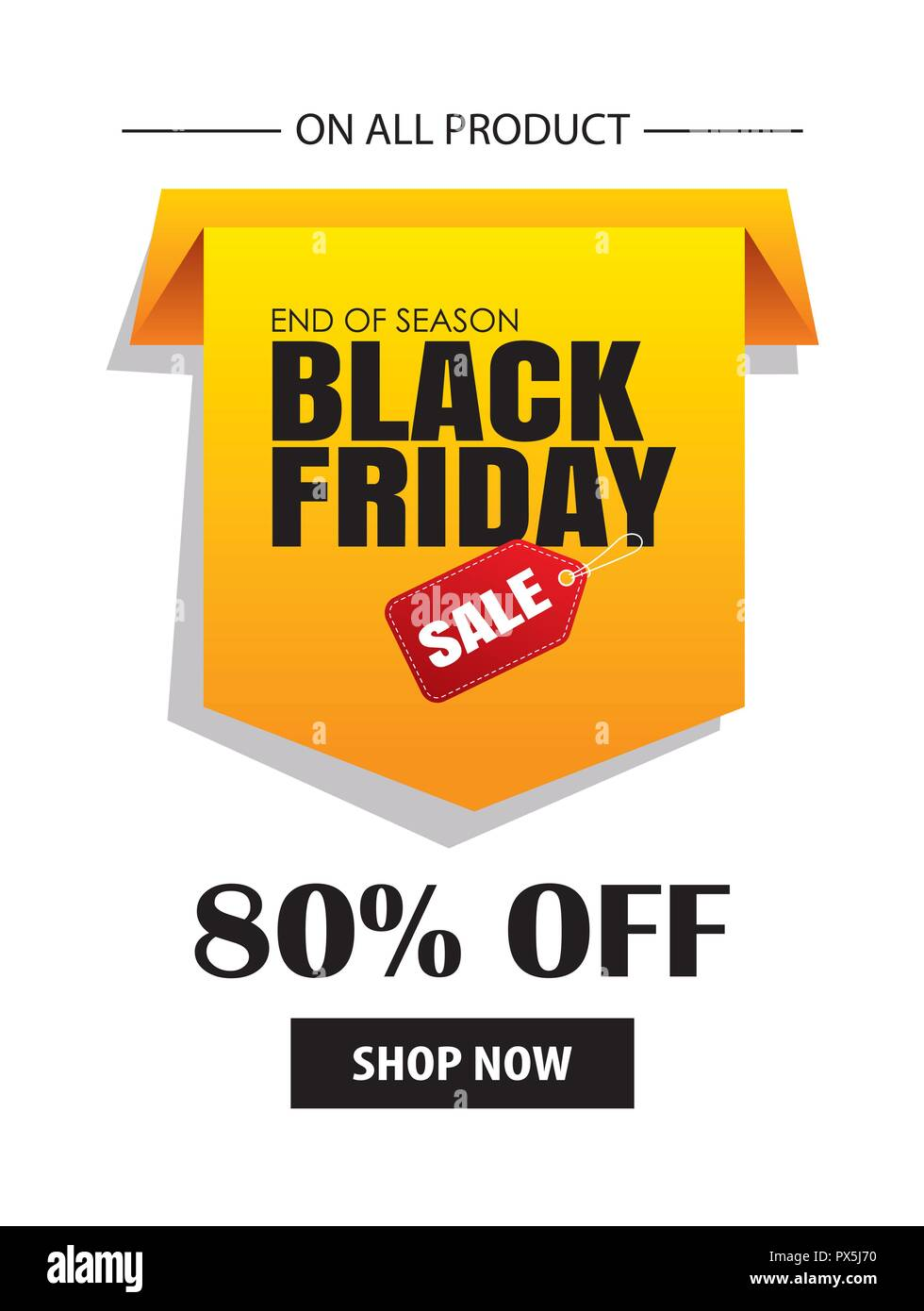 black friday sale flyer template white background with yellow tag