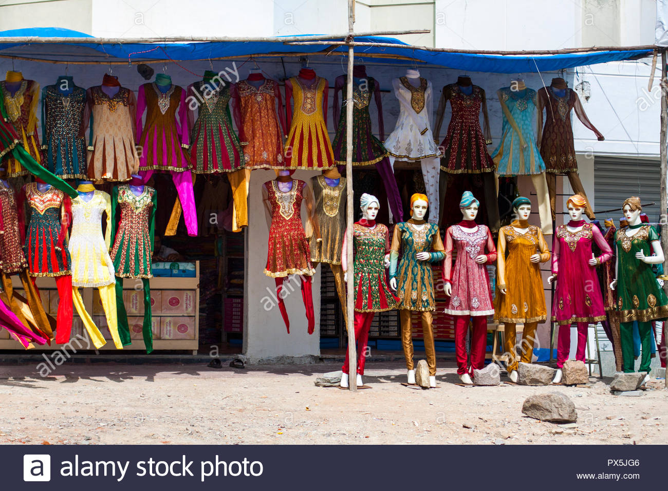 51129825 Salwar kameez shop in Hyderabad, Andhra Pradesh, India - Stock Image