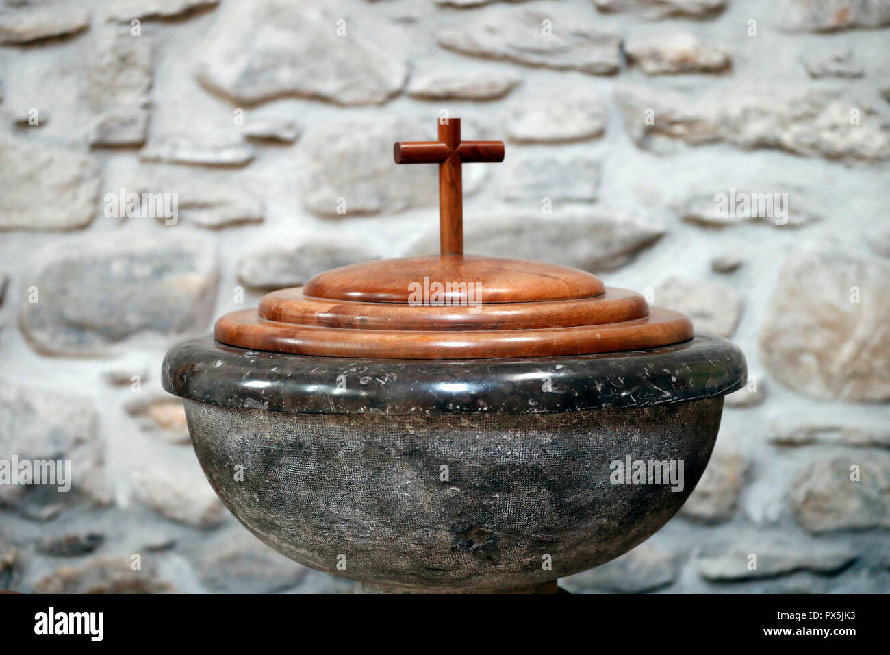 Sainte Marie Madeleine church. Baptistery.  Praz sur Arly. France. Stock Photo