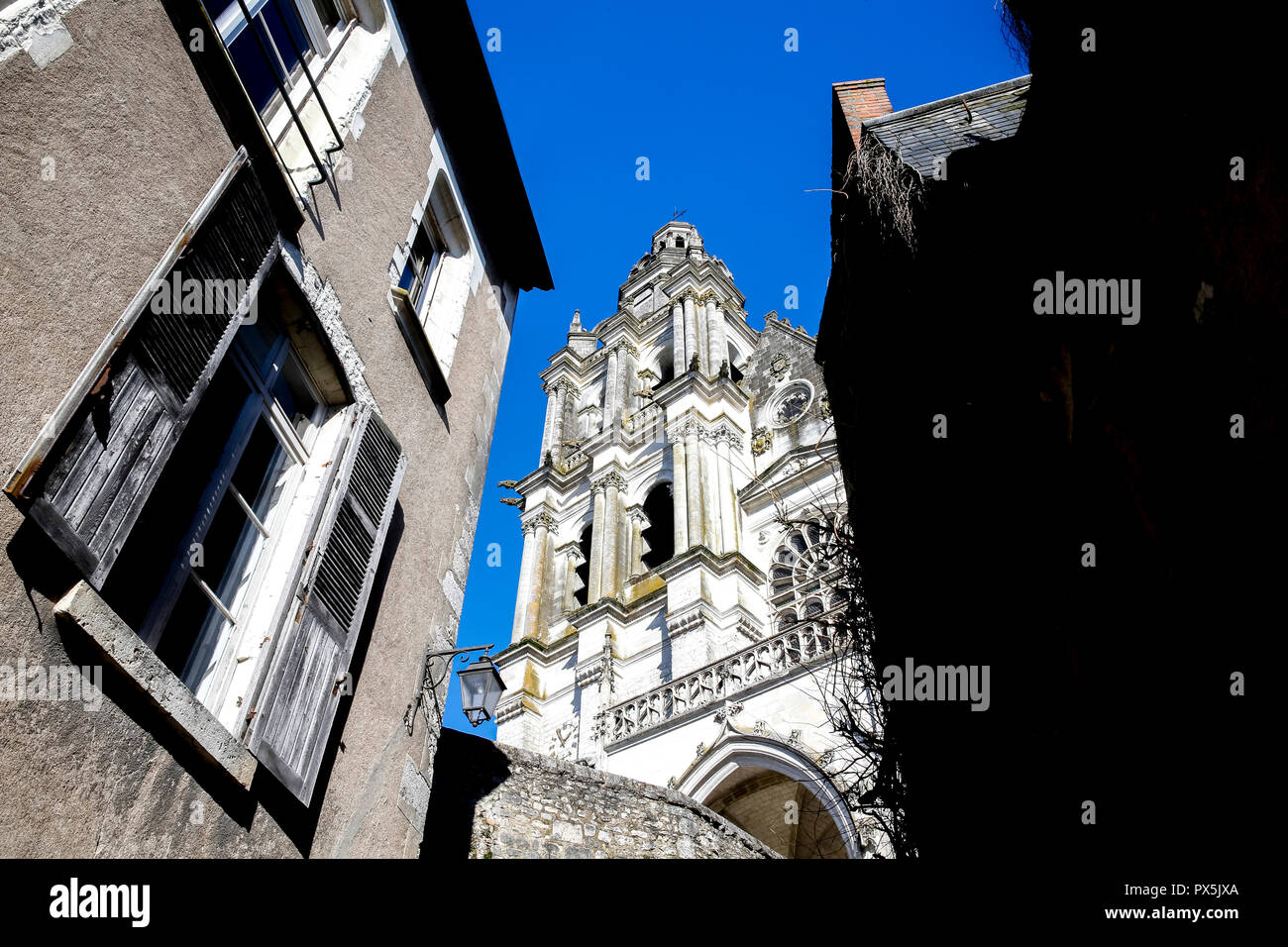 Old City of Blois, France. Cathedral spire. - Stock Image