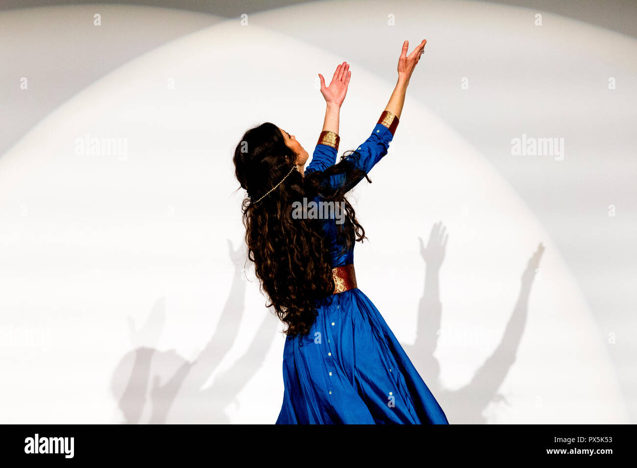Dancer Kawtar Kel performing in Paris, France. - Stock Image