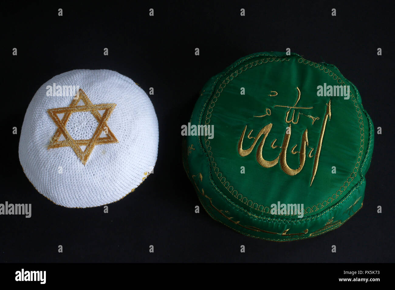 Islamic and jewish skullcaps. Judaism and islam. - Stock Image