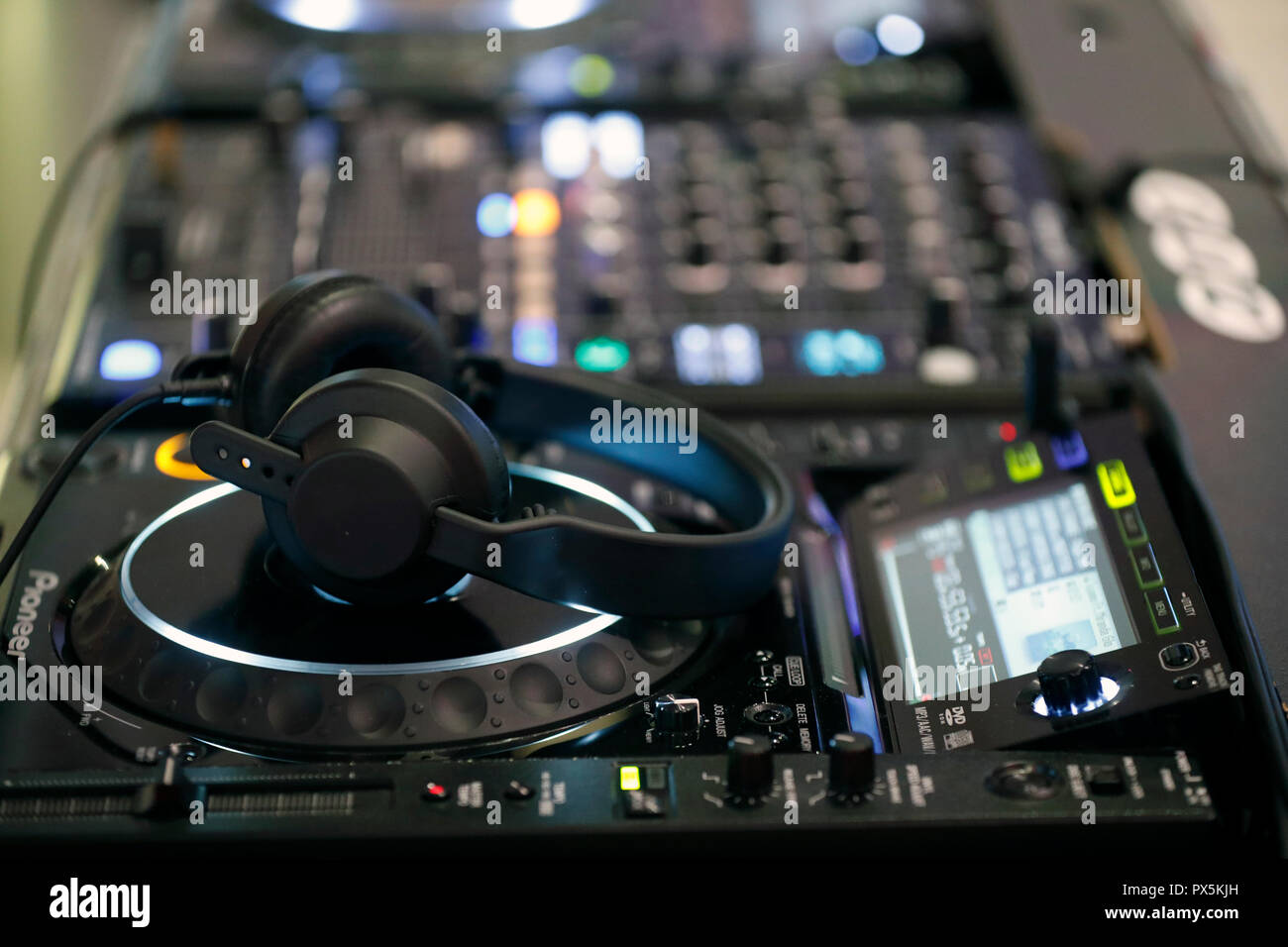 Remote and mixer DJ for music. France. - Stock Image