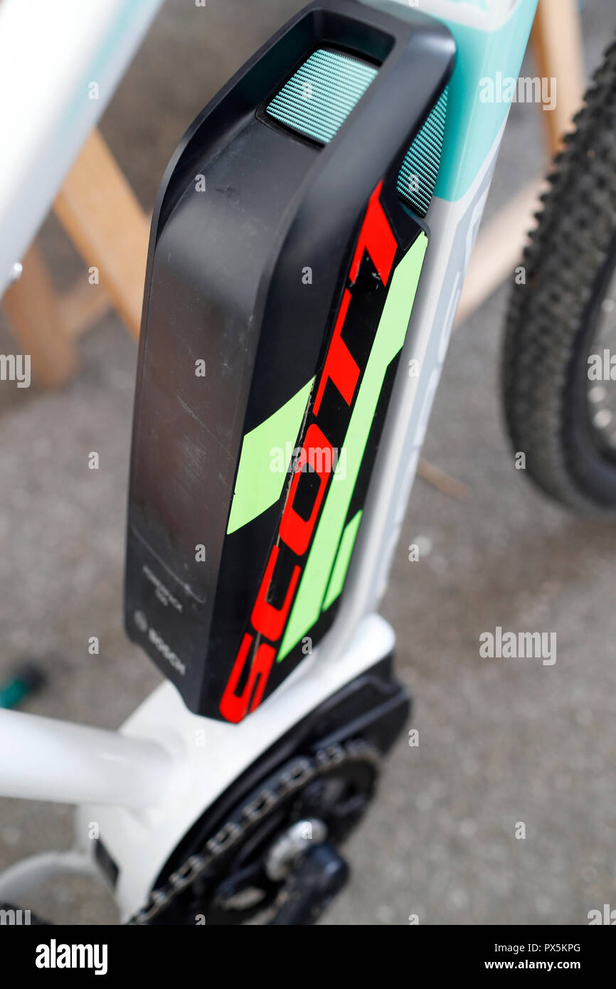 Electric mountain bike. The battery.  France. - Stock Image
