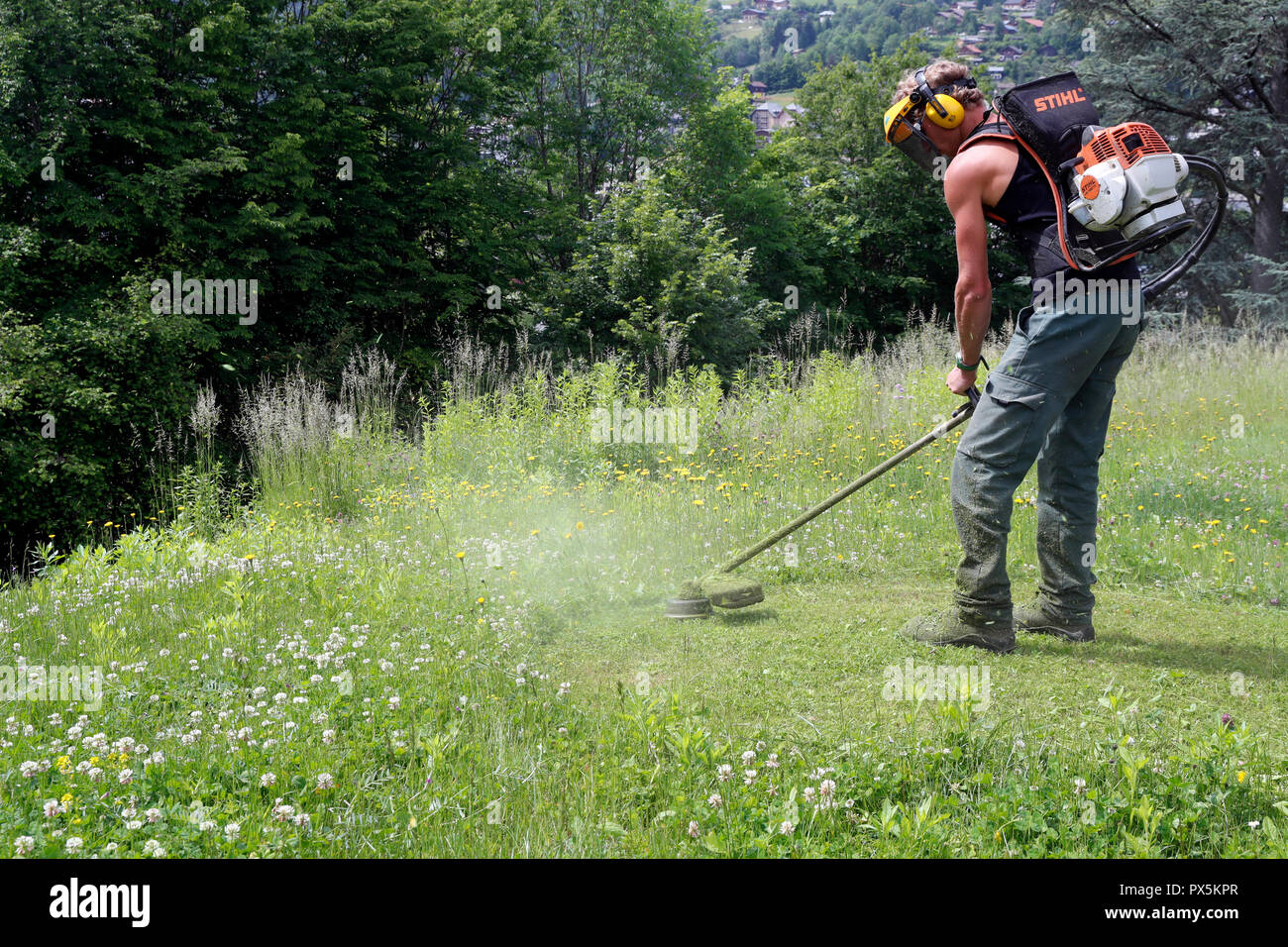 Gardner cutting grass verge with brushcutter.  France. - Stock Image