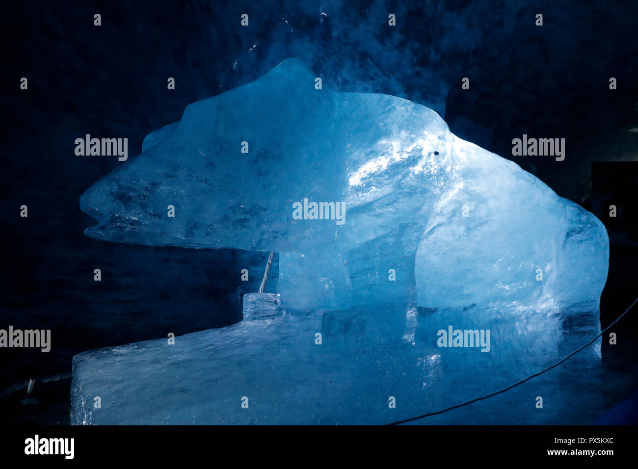French Alps. Mont Blanc massif. Mer de Glace Glacier Ice Cave,  Chamonix. France. - Stock Image