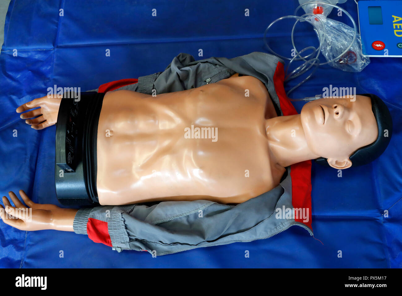 Life-saving first aid on a model.  France. - Stock Image