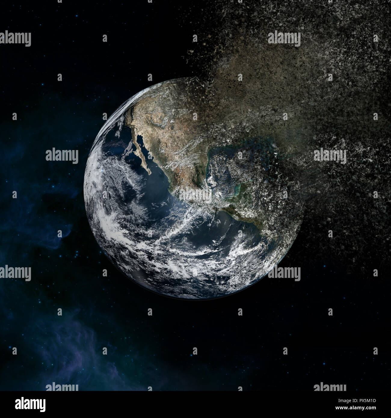 Earth vanisching loosing pieces - explosion in the galaxy 'Elements of this image furnished by NASA' - Stock Image