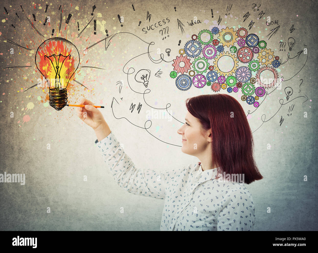 Young woman with colorful gear brain above head, positive emotion, drawing a genius idea as arrows and curves going to a color splash light bulb. Conc - Stock Image